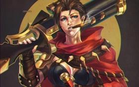 Обои League of Legends, пушка, Outlaw, девушка, graves, fan art