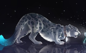 Обои кошка, цветок, вода, свет, отражение, удивление, леопард