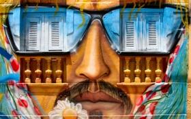 Картинка Человек, Дом, Лицо, Граффити
