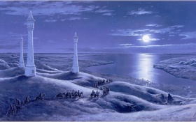 Обои море, пейзаж, ночь, луна, кони, башни, путники