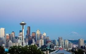 Обои город, башня, гора, дома, Seattle, Сиетл, Mt Rainier from Kerry Park