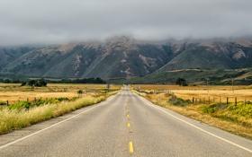 Обои Дорога, горы, облако