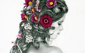 Картинка девушка, цветы, ресницы, волосы, спина, прическа, белый фон