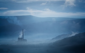 Картинка город, туман, утро, фабрика