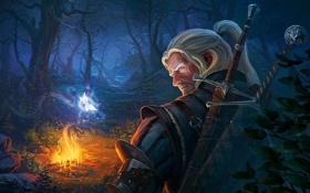 Обои лес, ночь, костер, rpg, witcher, The Witcher 3: Wild Hunt, Wild Hunt