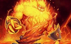Обои огонь, карта, существо, арт, лава, WoW, World of Warcraft
