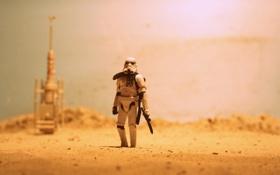Картинка песок, пустыня, тень, Star Wars, солнечный, BlasTech E-11, Blaster