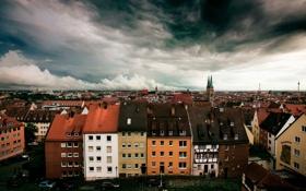 Обои небо, город, дома, германия, Нюрнберг