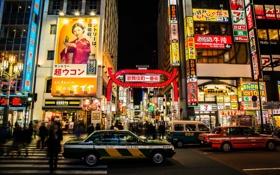 Обои люди, улица, неон, Япония, Токио, автомобили, магазины