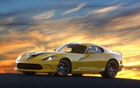 Обои закат, желтый, GTS, Viper, передок, Dodge, SRT