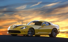 Обои закат, желтый, фон, Додж, Dodge, суперкар, Viper