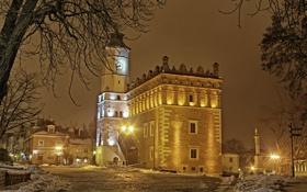 Картинка зима, снег, деревья, ночь, город, здания, дома