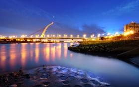 Обои мост, город, огни, вечер