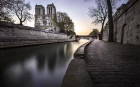 Картинка город, улица, здание, Paris, Notre Dame, архиректура