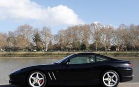 Обои деревья, черная, вид сбоку, феррари 550, Ferrari 550 Maranello, маранелло