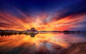 Обои небо, озеро, скала