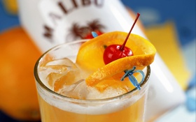 Обои лед, оранжевый, вишня, напитки, коктейли, orange, cherry