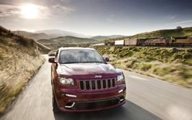 Картинка дорога, поезд, джип, SRT8, Jeep Grand Cherokee