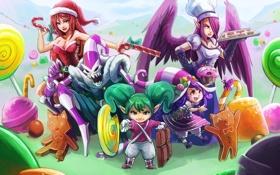 Обои Katarina, league of legends, Morgana, Lulu, Tristana