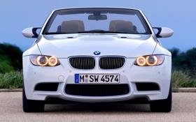Картинка Авто, Белый, BMW, Машина, Лого, Решетка, БМВ