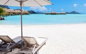 Обои песок, море, тропики, побережье, зонтики, домики, sea