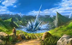 Картинка девушка, пейзаж, скалы, арт, дорожка, кристаллы, путешествие