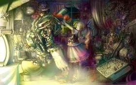 Картинка робот, склад, девочка, бантик