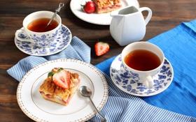 Обои ягоды, чай, клубника, пирог, чашки, тарелки, выпечка