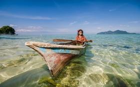 Картинка море, лодка, девочка