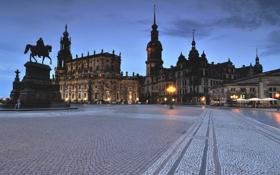 Обои небо, дома, вечер, Германия, Дрезден, площадь, памятник