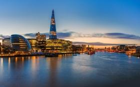 Картинка The Shard, река, здания, City Hall, вечер, Великобритания, England
