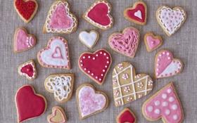 Обои праздник, печенье, сердечки, выпечка, hearts, valentines, глазурь