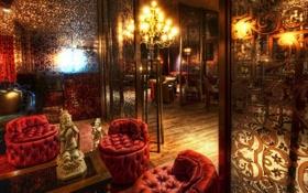 Обои Элитное, золото, заведение, кресла, Будда, свечи, элита