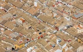 Обои крыша, дома, текстура, панорама, Испания, Мурсия, Каравака-де-ла-Крус