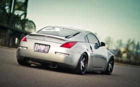 Обои серебристый, Nissan, ниссан, 350Z, задняя часть, silvery