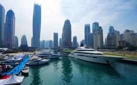 Картинка небо, дома, яхты, Дубай, гавань, марина