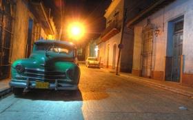 Картинка машина, ночь, ретро, обои, улица, старый, автомобиль