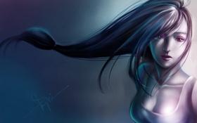 Обои девушка, фон, волосы, арт, Final Fantasy VII, Tifa Lockhart