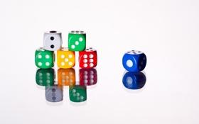 Картинка синий, желтый, красный, зеленый, отражение, кубики, игра