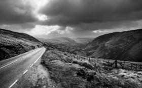 Обои дорога, небо, пейзаж, горы, холмы, растения, горизонт