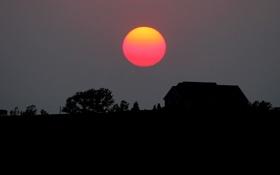 Картинка небо, солнце, деревья, закат, дом, силуэт