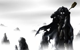 Картинка белый, горы, туман, черный, Storm Breaker, JohnSu (deviantart)