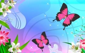 Картинка цветы, природа, бабочка, вектор, мотылек