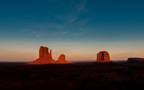 Картинка закат, камни, скалы, пустыня, США