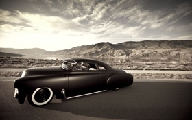 Картинка дорога, небо, горы, шевроле, chevrolet, 1951, retro car