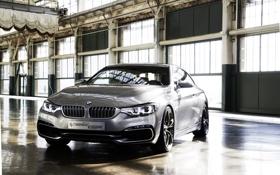 Обои Серый, BMW, 4 Series, Concept, Передок, Фары, Хром