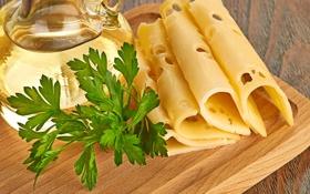 Картинка масло, еда, сыр, петрушка, ломтики, нарезка