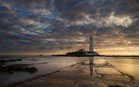 Обои маяк, ночь, море, пейзаж
