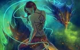 Обои girl, spirit, dragon
