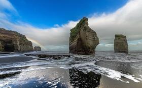 Обои скалы, берег, радуга, море